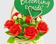 Miniature Red Roses Polymer Clay Flowers Supplies in white rattan basket