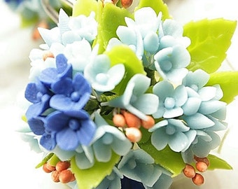Blue Hydrangea bouquets 1 bunch, with heart shape clip holder