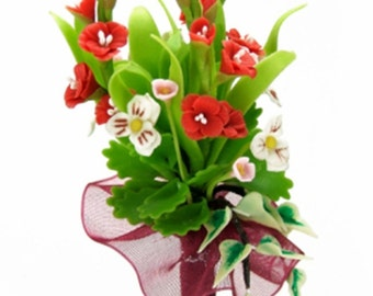 Scarlet Red Gladiolus and White Pansy Bouquet, wrap with red maroon ribbon
