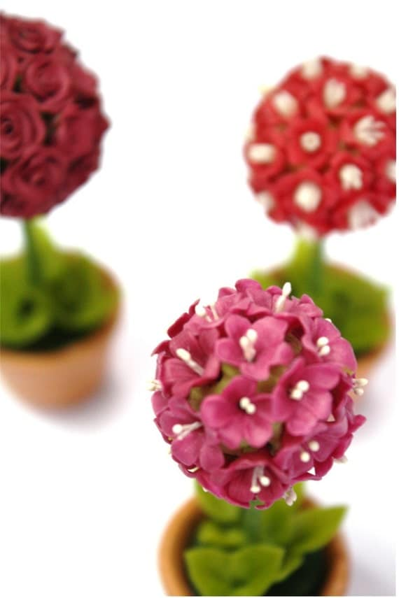 Miniature Polymer Clay Flowers Supplies Pink Geranium Topiary