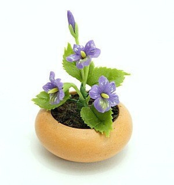 Miniature Polymer Clay Flowers Supplies for Dollhouse and Handmade Gifts Violet