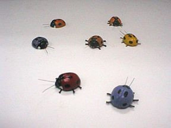 Miniature Polymer Clay Ladybird Magnets, set of 8 pieces.