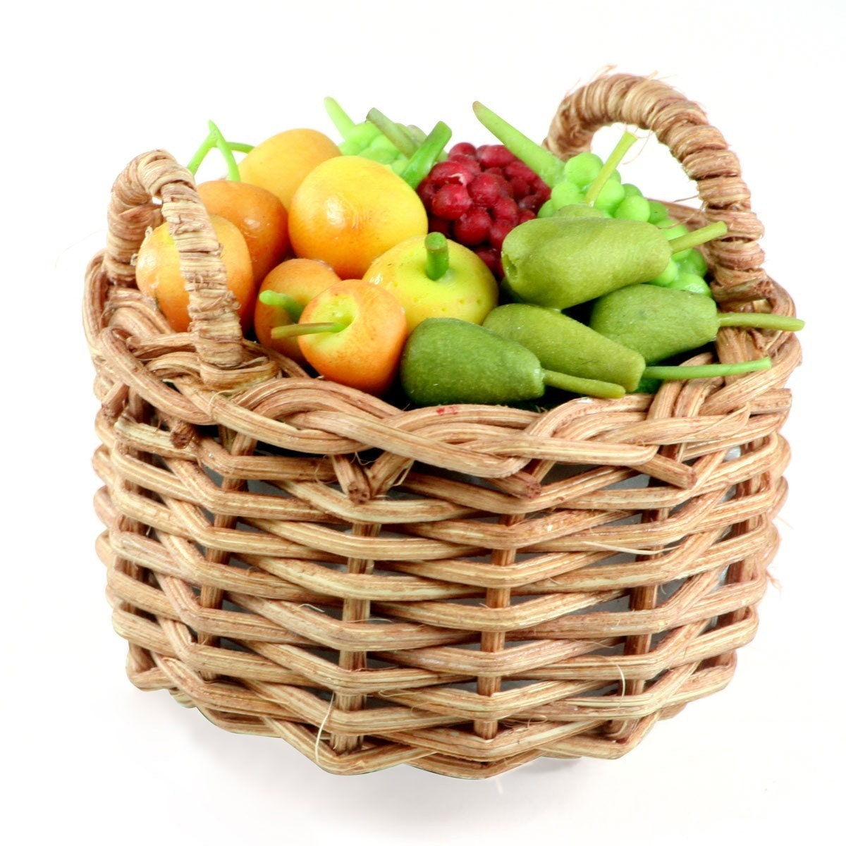Basket Weaving Grapevines : Pear peach and grape polymer clay fruits in weaving basket