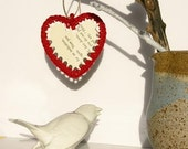 Heart Shaped Crochet and Paper Chistmas Decoration (Red pack of 5)