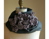 Artlab's Steel Gray and Muted Purple  Wool Ruffle Scarf FALL-WINTER 2010