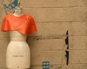 Women's Leather Caplet , Orange Cape , Autumn Winter Fashion Accessories ,black gray cape