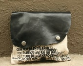 RESERVED for Deidre Clutch Handbag - leather and canvas - Ready to Ship