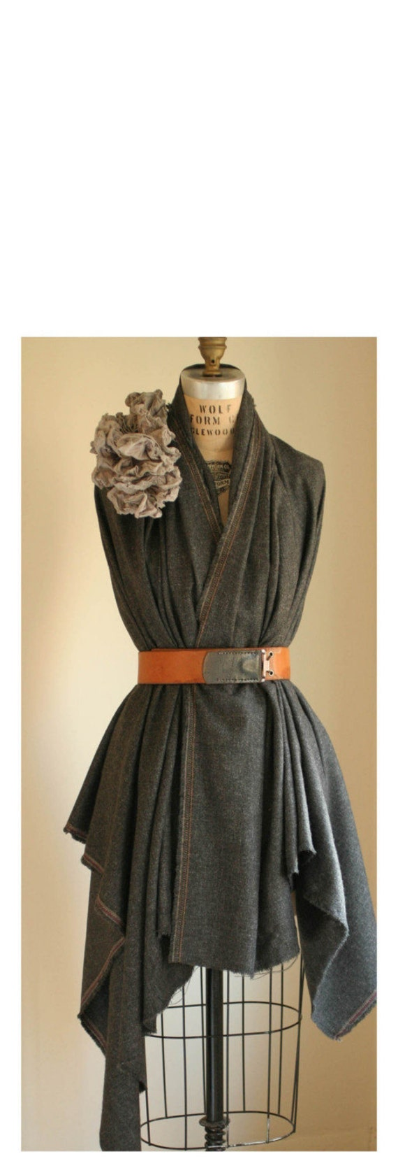 artLAB's Oversized Wool Wrap No.4 Charcoal Gray
