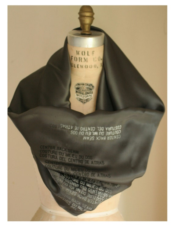 Distressed Text Silk Scarf 2010 Rich Muted Charcoal Gray