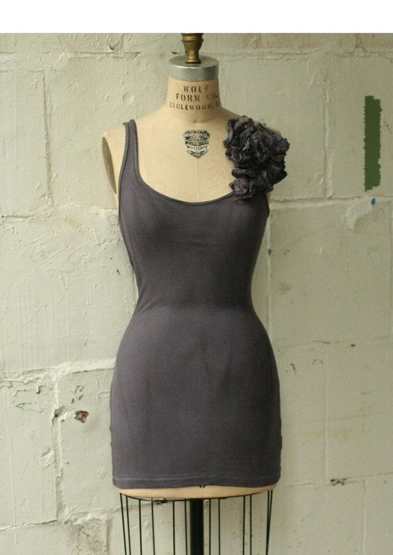 Spring Hand Dyed Muted Black MEDIUM singlet ruffle tank