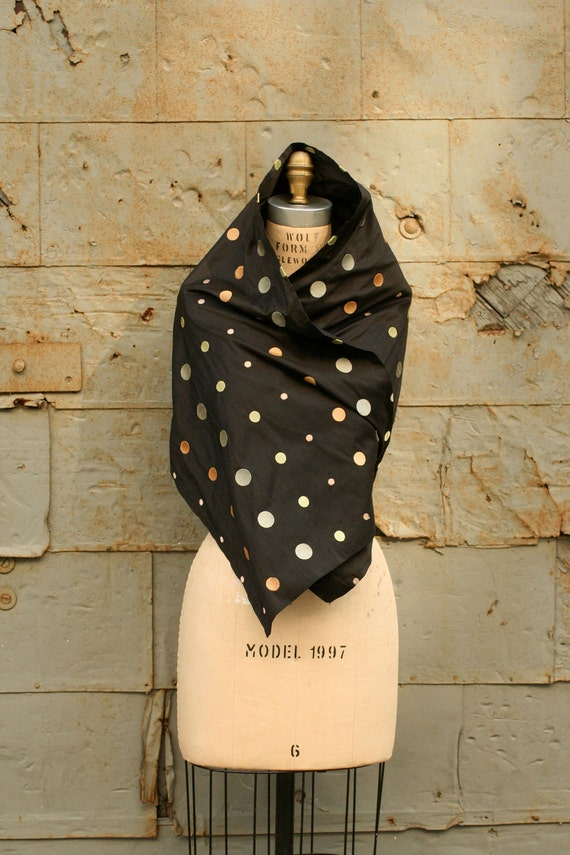 Weekend SALE the Noir Polka Dots SCARF in Silk and Embroidery Spring Fashion LAST Piece