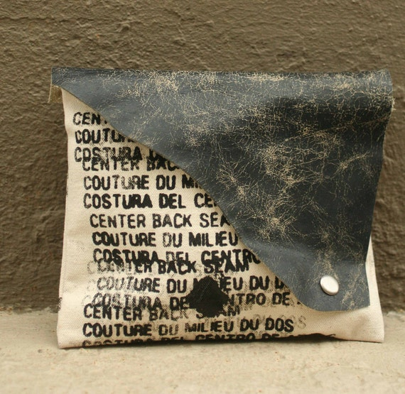 SALE Clutch Handbag - artists canvas - distressed leather - Ready to Ship - One of a Kind