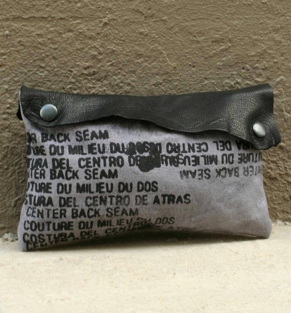 summer SALE Clutch Handbag - Leather and canvas - Hand Dyed- Ready to Ship