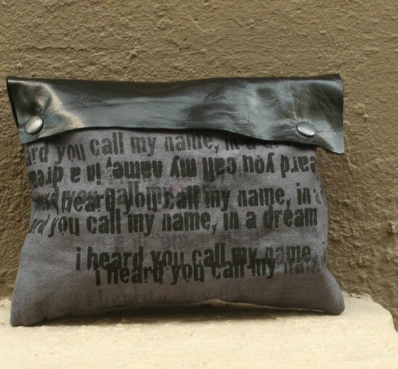 SALE Clutch Handbag -  Black Buffalo Leather and Artist's Canvas - Ready to Ship