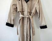 80s Khaki and Black LINED Belted Trench Coat WARM Hood 6 M Petite