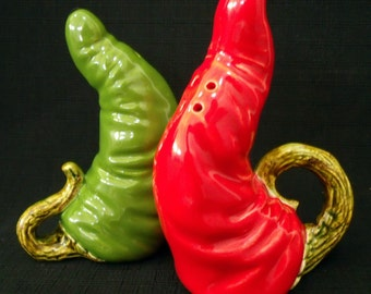 Green and Red Chili Peppers - Ceramic Salt and Pepper Set