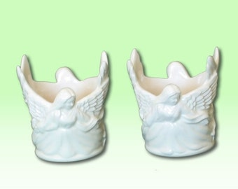 Angel Votive Candle Holders (Gloss White)