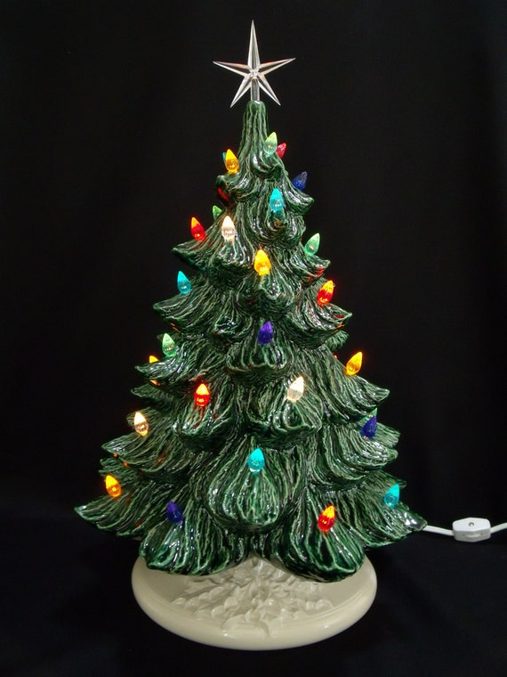 Classic Ceramic Christmas Tree w/ Music Box 19 in