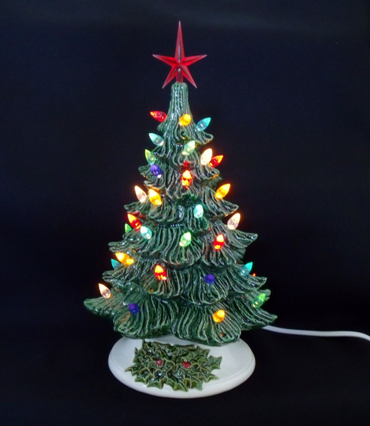 Lighted Ceramic Christmas Tree 12 Inches