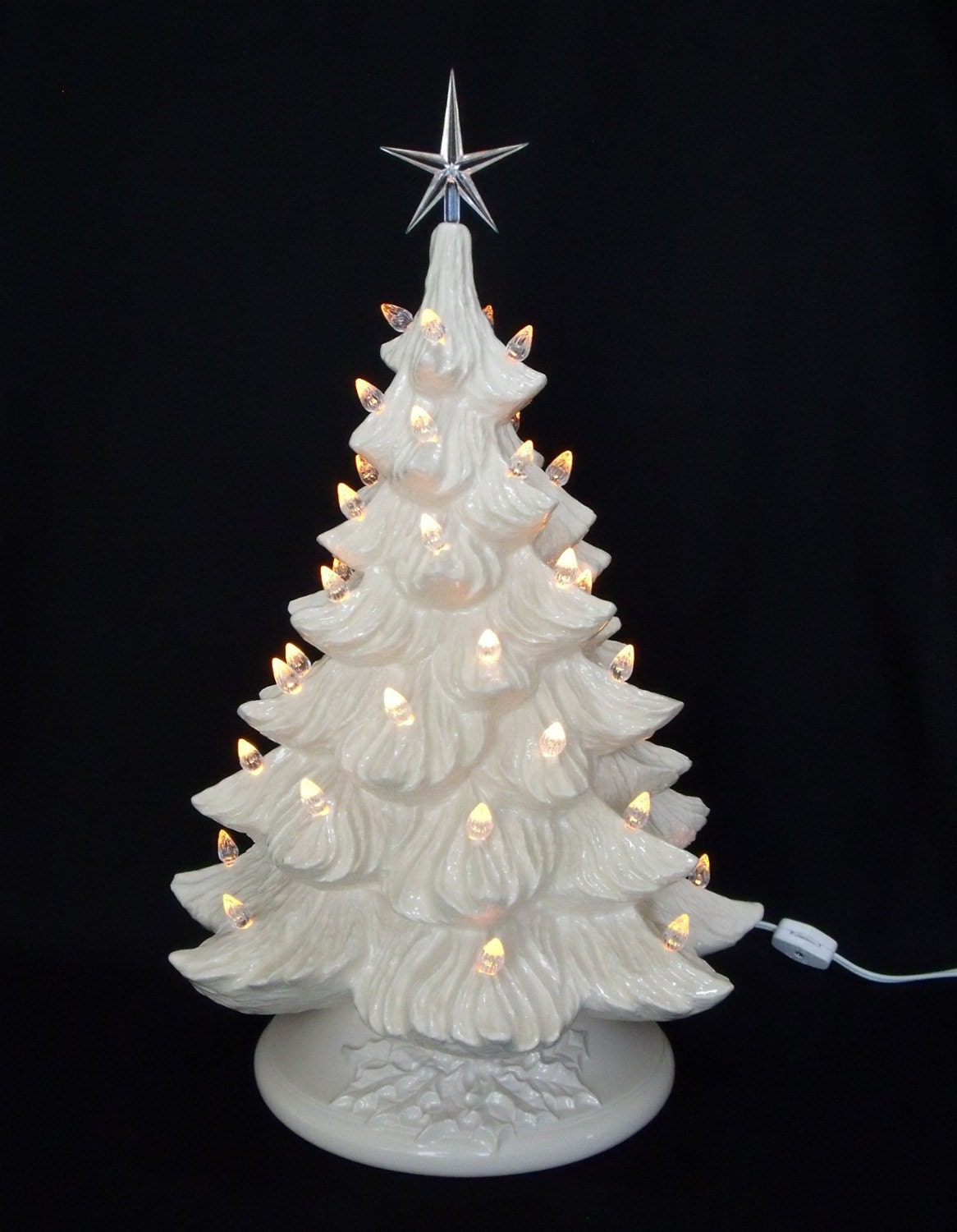 White Christmas Ceramic Christmas Tree W Music By