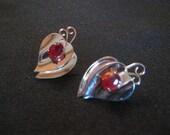 Vintage Coro Sterling Red Rhinestone Earrings
