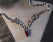 Red and Crystal Vintage Rhinestone Necklace