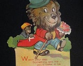 Valentine with Monkey and Lion Vintage