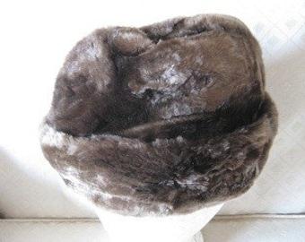 Vintage Brown Rustic Fur Hat
