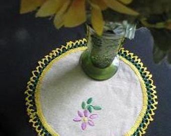 Set of 5 Hand Embroidered and Crocheted Doilies Vintage