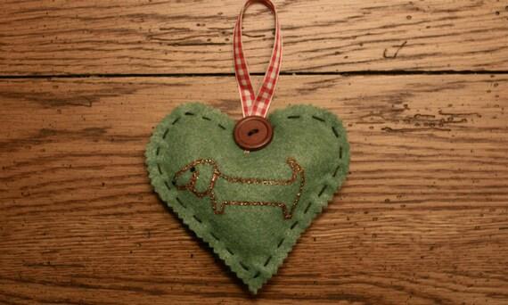 Christmas Ornaments Felt Dachshund HEART