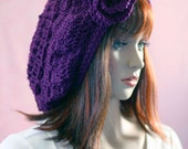Slouchy Hat in Purple Grape with Flower