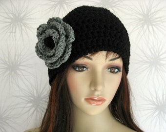 Hat - Black Cloche with Gray and Black Flower