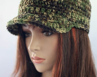 Hat with Brim - Camouflage Green