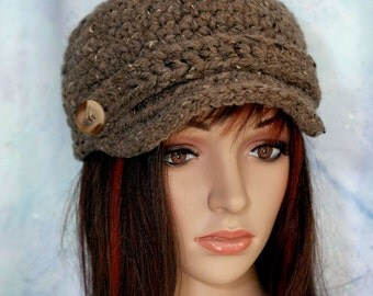 Brown Oatmeal Hat with Brim with Strap and Button