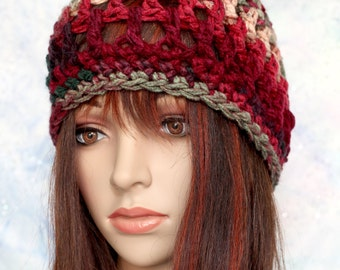 Hat - Red, Green, Gray - Vintage Christmas colors - UNISEX - Open Weave Thick and Warm Beanie Cloche Hat Beret Cap