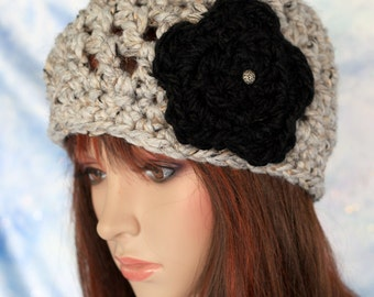 Hat - Oatmeal with Black Flower - Open Weave Thick and Warm Beanie Cloche Hat Beret Cap