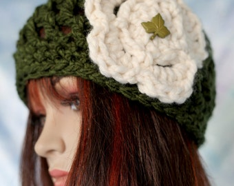 Hat - Olive Green with Cream Colored Flower - Open Weave Thick and Warm Beanie Cloche Hat Beret Cap