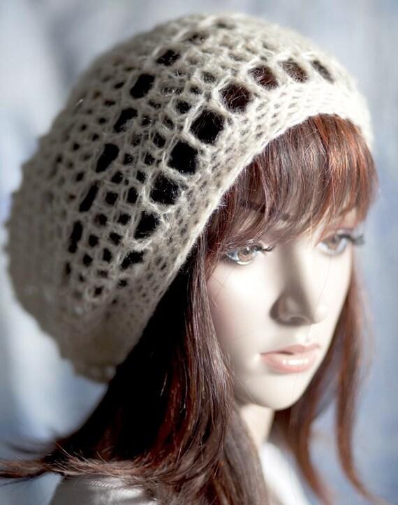 Slouchy Hat - Light as a Feather - Cream Beige- Mohair Blend - super soft