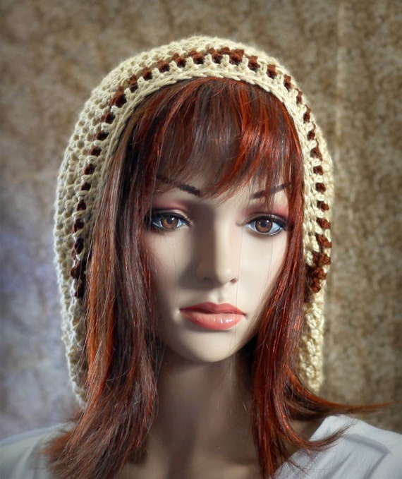 Super Slouchy Hat - Cream with Brown Stripes - Unisex