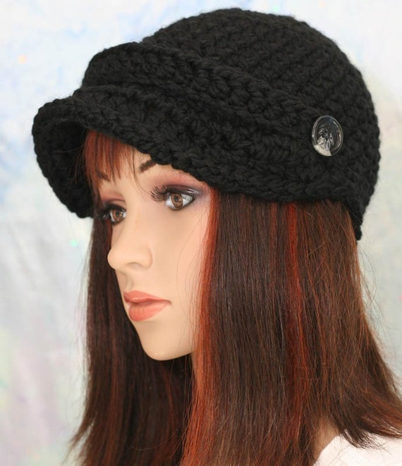 Black Hat - Brim with Strap and Button - Unisex