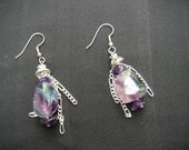 Chained Fluorite - earring - 2 inches long