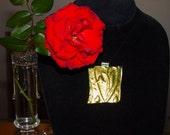 Gold Heart I LOVE YOU Dichroic Glass Heart Pendant