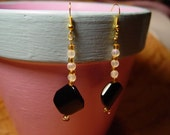 Black and White and Gold Earrings