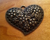Heart with flowers large charm