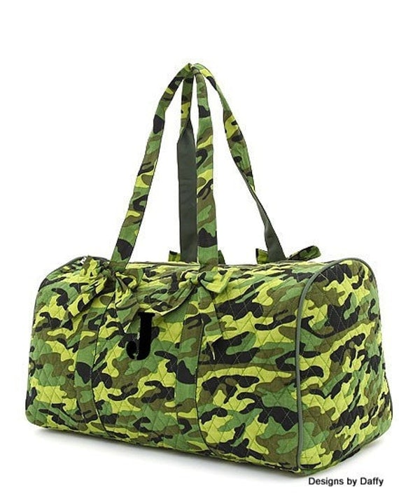Monogrammed Quilted Camo Duffle Bag