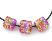 3 Lipstick Rainbow Red Dichroic Cube Beads
