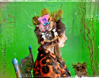 Burlesque Dancer colorful feather lace and 3d glass cabochon headpiece FASCINATOR