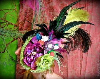 Burlesque Dancer colorful long  feather lace flowers and 3d glass cabochon headpiece FASCINATOR
