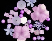 Purple vintage Lucite and plastic retro bead mix with flowers.  BONUS BEADS with every purchase.