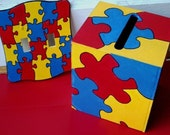 Autism puzzle tissue holder and double lightswitch plate